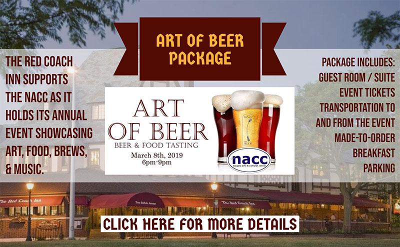 promo for the art of beer event package at red coach inn