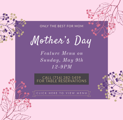 promotional graphic for Mother's Day restaurant reservations